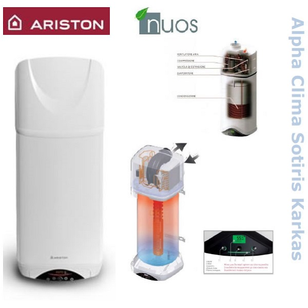 Αντλίες θερμότητας ARISTON Nuos Evo A+ WH monobloc επίτοιχες μεσαίων θερμοκρασιών (60°C) αποκλειστικά για ζεστό νερό χρήσης