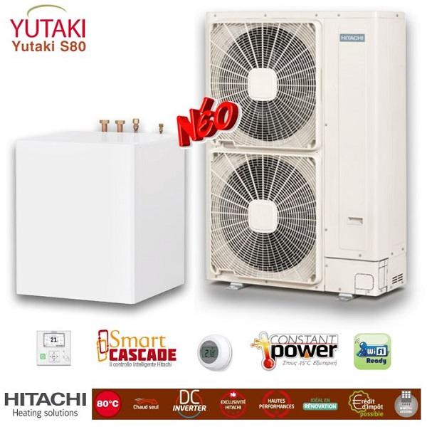 HITACHI Yutaki S80 split Αντλίες θερμότητας υψηλών θερμοκρασιών (80°C) μόνο θέρμανση με υδραυλικό πακέτο
