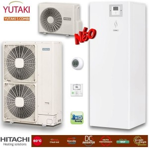 Hitachi Yutaki S Combi split ZNX Αντλίες θερμότητας μεσαίων θερμοκρασιών (60°C) ψύξη & θέρμανση με υδραυλικό πακέτο