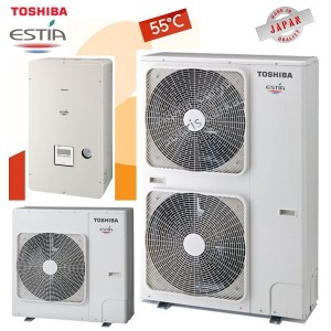 TOSHIBA Estia split Αντλίες θερμότητας χαμηλών θερμοκρασιών (55°C) ψύξη & θέρμανση με υδραυλικό πακέτο