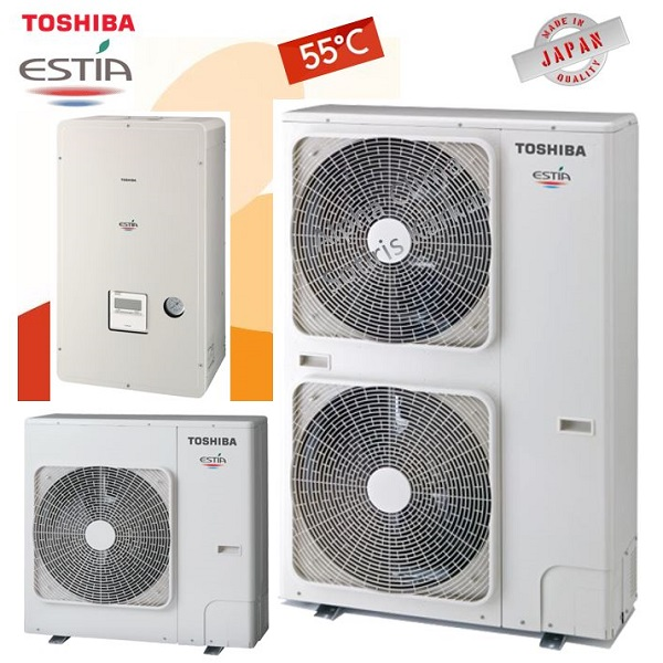 TOSHIBA Estia split Αντλίες θερμότητας διαιρούμενες χαμηλών θερμοκρασιών (55°C) ψύξη & θέρμανση με υδραυλικό πακέτο